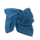 【COACH】展示品C LOGO羊毛流蘇絲巾圍巾(琉璃藍)