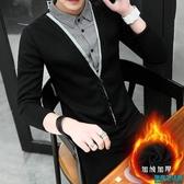 秋裝假兩件毛衣男士韓版假領針織衫帶領子長袖衛衣襯衫領上衣潮流