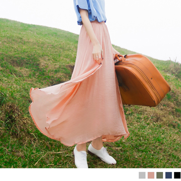 《CA500》腰圍鬆緊純色飄逸雙層紗設計長裙.5色 OrangeBear