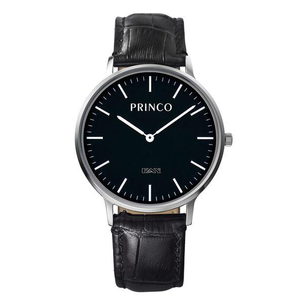 PRINCO 時尚經典一卡通速PAY石英錶-37mm黑底銀邊(快拆皮革錶帶)(MD0201S)