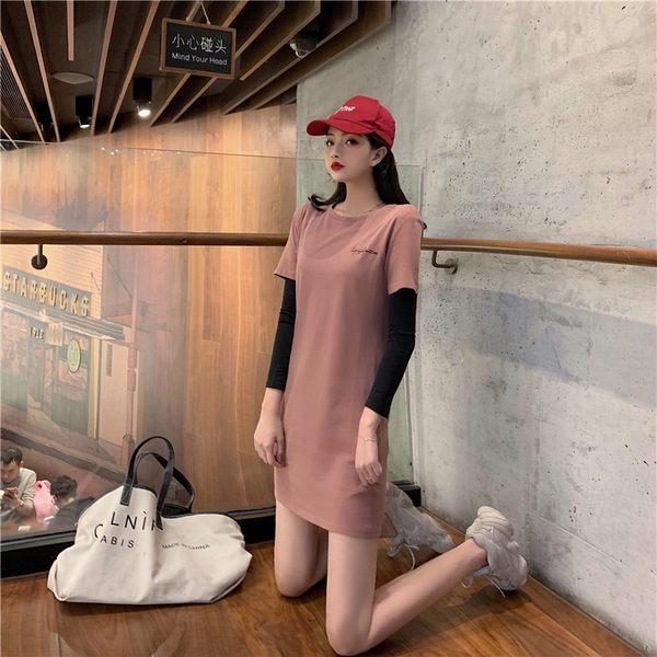 VK旗艦店 韓系簡約寬鬆顯瘦長T短袖休閒長袖洋裝
