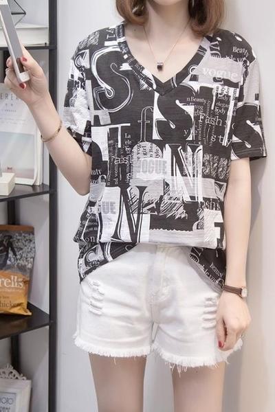 涼感上衣 大碼T L-4XL短袖t恤加V領百搭寬松遮肚顯瘦上衣3F027-A.依品國際