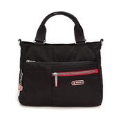 《高仕皮包》【免運費】BESIDE-U 都會簡約方形兩用包.黑/紅 BFY428S16138B
