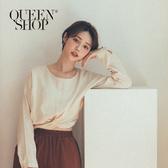 Queen Shop【01120216】扭結短版棉麻上衣 兩色售*現+預*