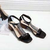 夏季漏趾涼鞋 水鑽粗跟淺口T型綁帶搭扣單鞋【多多鞋包店】z8310