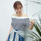 百貨專櫃女裝 舒適手感棉質 夏日配色條紋 微甜日系一字領