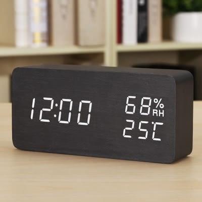 時尚LED創意電子鐘錶 夜光靜音鬧鐘 溫濕度計床頭鐘木 座臺鐘I1