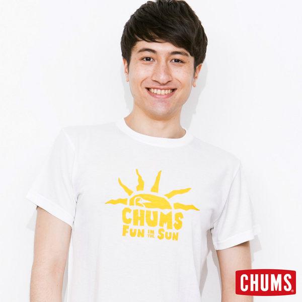 CHUMS 日本 男 Tech吸濕快排 Sun Shine 短袖T恤 白黃 CH011114W001