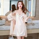 睡衣女夏季薄款性感冰絲綢2021年新款短袖睡袍春秋吊帶睡裙兩件套【快速出貨】
