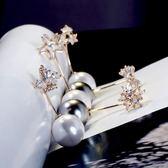 防走光胸針 簡約大珍珠小花朵蝴蝶結收v領別開防走光衫胸針別針西裝大衣配飾