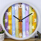 鉑晨鐘錶時尚掛鐘臥室卡通時鐘圓創意掛錶簡約現代客廳靜音石英鐘  Cocoa