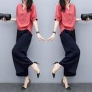 棉麻套裝女2021夏裝新款時尚韓版短袖九分寬管褲休閒亞麻料兩件套 設計師