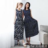 【天母嚴選】多色印花彈性縮腰背心式連身長洋裝(共四色)