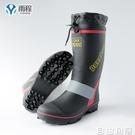 雨程高筒雨靴男士防水防滑雨鞋鋼釘底水鞋釣魚鞋套鞋高筒膠鞋春秋  自由角落