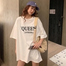 【Charm Beauty】港風 中長款 寬鬆 大碼 半袖 上衣 女網紅ins潮 短袖t恤 女春裝 2021年 新款