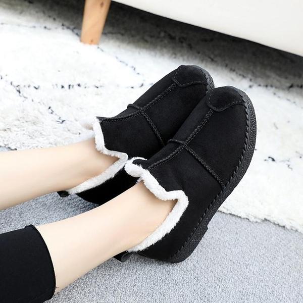 冬季雪地靴女老北京布鞋加絨加厚女棉鞋短筒舒適百搭保暖媽媽棉鞋 麻吉好貨