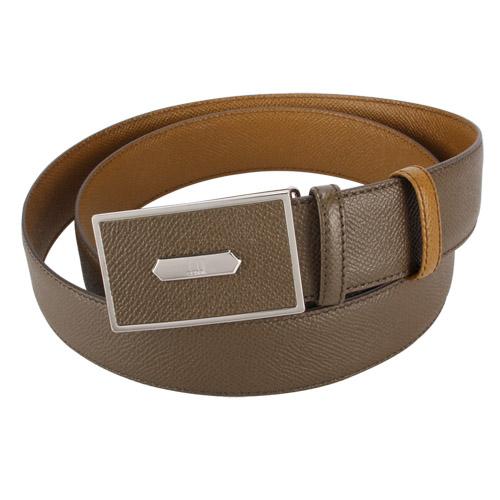 dunhill新款Bourdon扣式雙面皮帶(黃褐色)250587