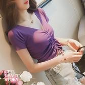 SISI【T9010】現貨微甜浪漫迷人性感露肩大V領短袖抽繩露肚臍顯曲線螺紋棉上衣