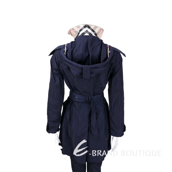 BURBERRY 海軍藍可拆式連帽塔夫塔綢風衣(附腰帶) 1540680-34