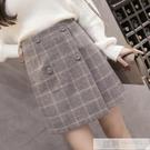 短裙 毛呢短裙女秋冬季2020新款外穿高腰加厚灰色褲裙格子包臀半身裙子-完美