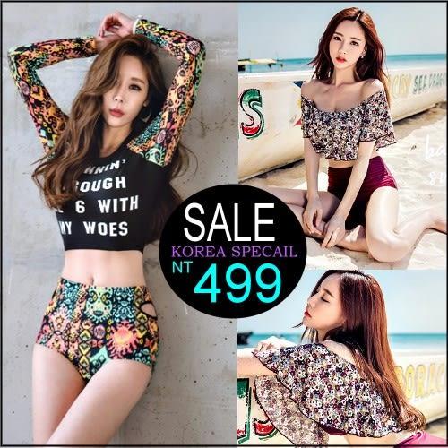 克妹Ke-Mei【ZT36513】korea韓國代購心機系三件式巴洛克字母Bikini比基尼泳裝組