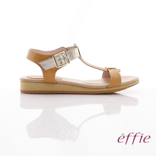 effie 輕量樂活 金箔真皮厚軟墊T字涼鞋 正黃