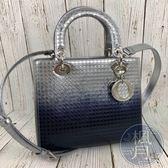 BRAND楓月 CHRISTIAN DIOR 銀漆皮 漸層 LADY DIOR 長方 手提包 側背包