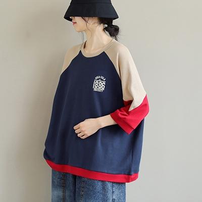 純棉圓領字母印花衛衣 拼色寬鬆七分袖套頭T恤/2色-夢想家-0325