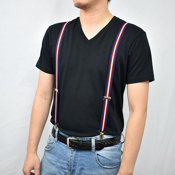 吊帶 率性型男藍紅色系窄版NKD23