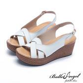楔型涼鞋 夏日風情雅緻真皮楔型涼鞋(白)*BalletAngel【18-761w】【現貨】