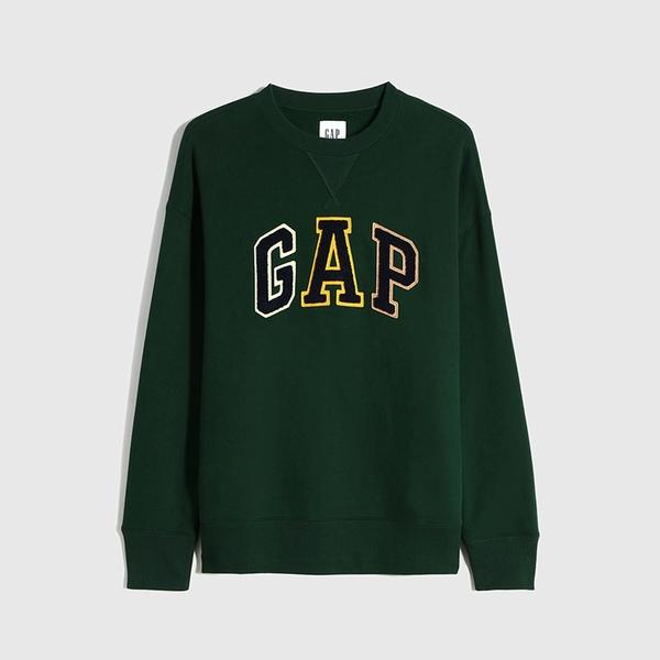 Gap男裝 Logo碳素磨毛抓絨休閒上衣 624867-松樹綠