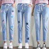 初中學生大童女裝春秋季寬鬆直筒牛仔褲女夏薄款秋裝鬆緊腰長褲子『潮流世家』
