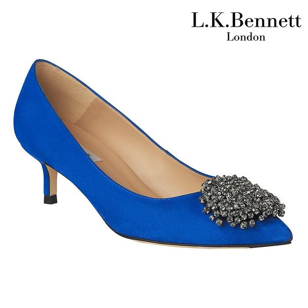 【L.K. BENNETT】凱特王妃摯愛 必搭鞋類 ALESSIA麂皮珍珠尖頭高跟鞋-黑 (原廠公司貨)