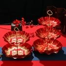 結婚果盤紅色婚禮喜慶紅喜盤家用客廳茶幾塑料雙層喜糖干果零食盤 - 古梵希