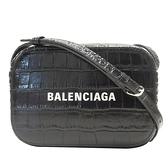 BALENCIAGA 巴黎世家 黑色壓鱷魚紋牛皮肩背相機包EVERYDAY LOGO LINE 552372