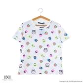 【INI】週慶限定、滿版印花圓領可愛上衣.白色