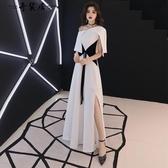 白色晚禮服裙女2018新款氣質長款年會宴會端莊大氣名媛聚會高貴冬