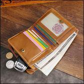 短夾錢包 復古油皮短款男士真皮RFID錢夾 零錢包【2色】★ifairies【88204】