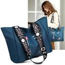 尼龍包 2021新款女包尼龍牛津布繡花包大容量通勤側背包簡約休閒手提包包 伊蘿