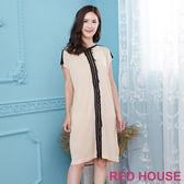 Red House 蕾赫斯-拼色長版針織上衣(淺卡其)
