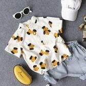 夏季新款兒童休閒小狗印花短袖襯衫男童女童寶寶立領半袖襯衣開衫 嬌糖小屋