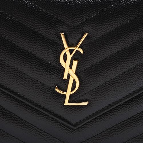 【雪曼國際精品】YSL MONOGRAM系列V字縫線魚子醬牛皮金屬LOGO 金鍊手拿/肩背包(黑)─新品現貨