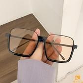 墨鏡素顏超大框防藍光復古眼鏡下半框方形凹造型太陽鏡女【慢客生活】