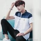 夏季襯衫男短袖新款帥氣韓版潮休閒上衣修身男士襯衣寸衣寸衫 依凡卡時尚
