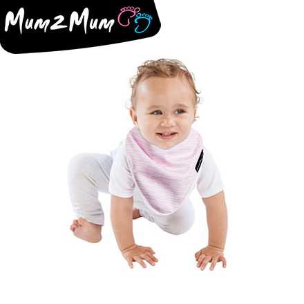 Mum 2 Mum 雙面竹纖維棉機能口水巾圍兜-粉條紋/點點【佳兒園婦幼館】
