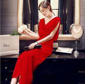 長禮服 宴會晚禮服裙新款長款紅高貴優雅端莊大氣聚會小禮服連身裙女 df5735【潘小丫女鞋】