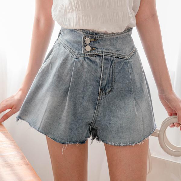 MIUSTAR 交疊雙釦腰鬆緊不收邊牛仔短褲(共1色)【NJ2069】預購