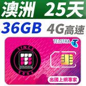 【TPHONE上網專家】澳洲 25天 36GB超大流量 4G高速上網 贈送當地無限通話 當地原裝卡 網速最快