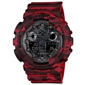 CASIO G-SHOCK 街頭時尚迷彩圖樣雙顯錶-紅(GA-100CM-4A)