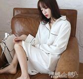 睡衣襯衫 睡裙女純棉長袖睡衣寬鬆韓版清新學生白色家居服 傾城小鋪